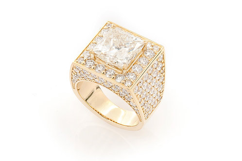 18 KT YELLOW GOLD 9.38 CTW MEN'S PRINCESS-CUT DIAMOND HALO RING