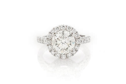 18 KT WHITE GOLD 3.95 CTW ROUND BRILLIANT-CUT DIAMOND HALO ENGAGEMENT RING