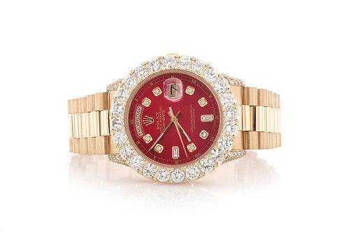 36 MM 18 KT YELLOW GOLD DAY DATE CUSTOM DIAMOND BEZEL