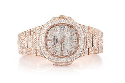 40MM Nautilus 5711 Rose Gold Fully Iced Out Diamond Watch