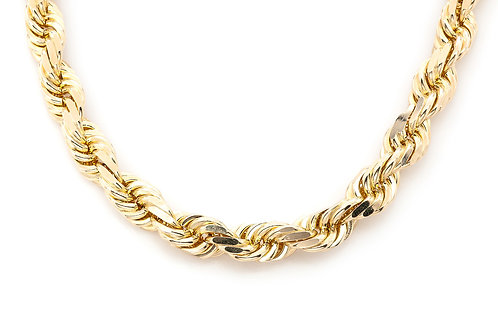 12.00 MM 10 KT YELLOW GOLD ROPE CHAIN