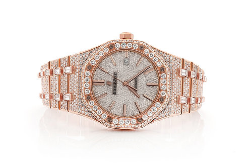 41MM ROYAL OAK ROSE GOLD FULLY ICED OUT WATCH