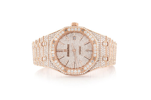 18 KT ROSE GOLD ROYAL OAK FULLY ICED OUT WATCH