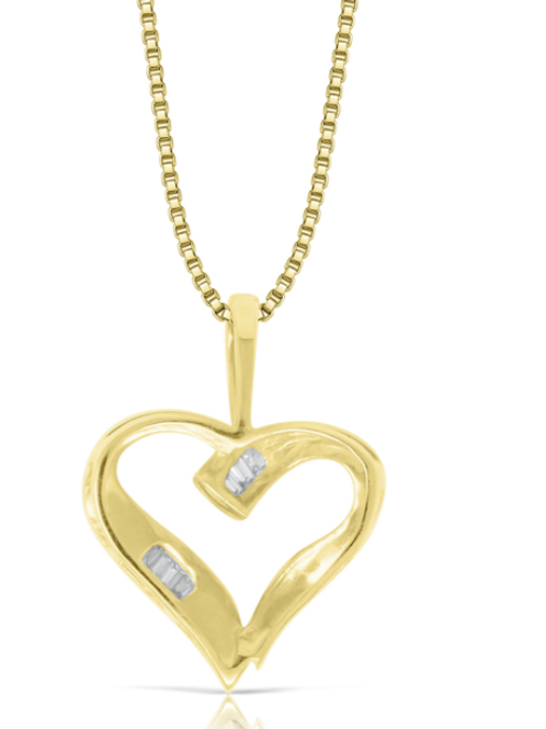 10K Yellow Gold Baguette Heart