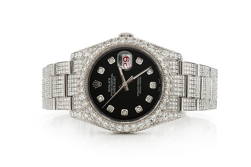 36 MM STAINLESS STEEL DATEJUST 18.37CTW DIAMONDS FULLY ICEDOUT ROLEX WATCH