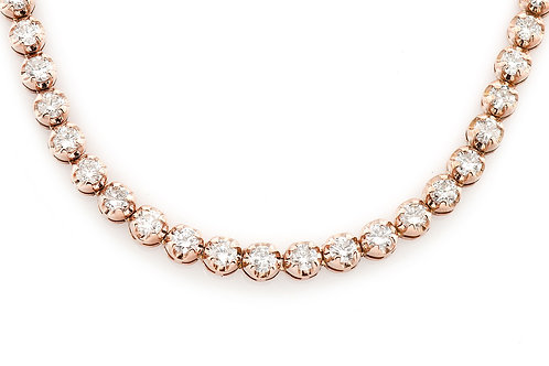 18 KT ROSE GOLD 22.20 CTW SOLITAIRE DIAMOND CHAIN
