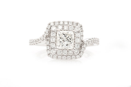 18 KT WHITE GOLD 1.50 CTW PRINCESS-CUT DIAMOND DOUBLE HALO ENGAGEMENT RING