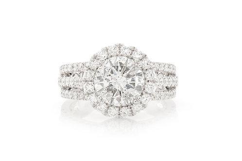 18 KT WHITE GOLD 3.36 CTW ROUND BRILLIANT-CUT DIAMOND HALO ENGAGEMENT RING