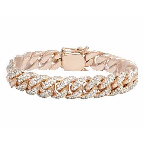 10 KT ROSE GOLD 9.65 CTW MIAMI CUBAN DIAMOND BRACELET
