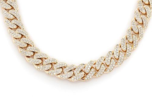 "10 KT YELLOW GOLD 34.11CTW DIAMONDS MIAMI CUBAN CHAIN(27"")"