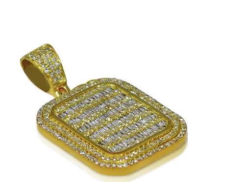 10K Yellow Gold Baguette Pendant 2.30ct with Chain
