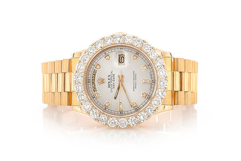 18 KT YELLOW GOLD 36 MM DAY DATE 8.78CTW DIAMONDS ROLEX WATCH