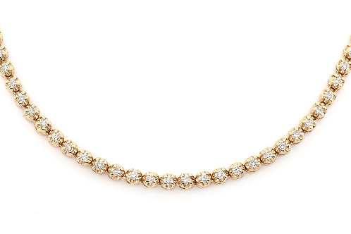18 KT YELLOW GOLD SOLITAIRE 4.23 CTW DIAMOND CHAIN