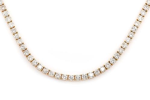 10 KT YELLOW GOLD ROUND BRILLIANT CUT 33.92CTW DIAMOND CHAIN