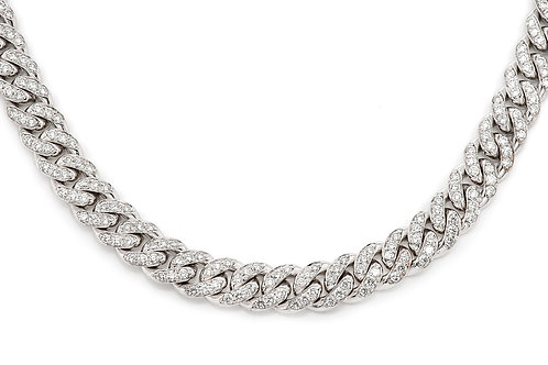 "10 KT WHITE GOLD 19.64CTW DIAMONDS MIAMI CUBAN CHAIN,(22"")"