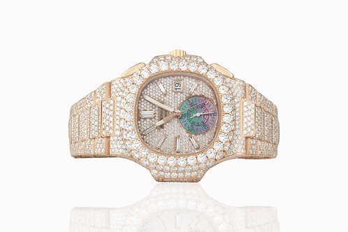 40.5 MM 18 KT ROSE GOLD NAUTILUS 5980 FULLY ICED OUT WATCH