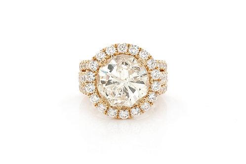 18 KT YELLOW GOLD 9.82 CTW ROUND BRILLIANT-CUT DIAMOND HALO ENGAGEMENT RING