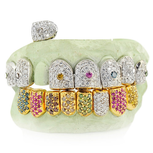 18 KT 16 TEETH INDIVIDUAL COLORFUL GRILLZ