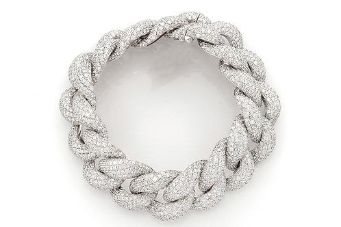 10 KT WHITE GOLD 39.25 CTW DIAMOND PUFF CUBAN LINK BRACELET
