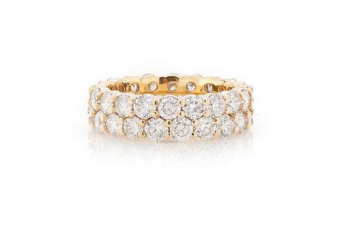 18 KT YELLOW GOLD 6.45 CTW 2 ROW ETERNITY DIAMOND BAND