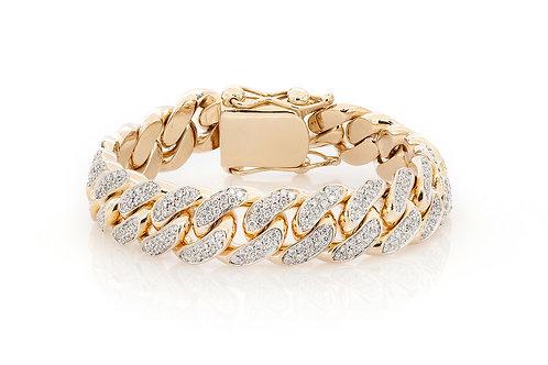 10 KT YELLOW GOLD 5.65 CTW MIAMI CUBAN DIAMOND BRACELET