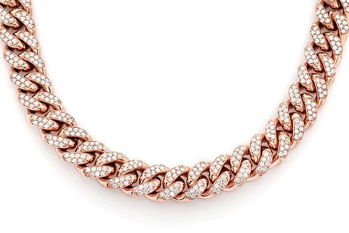 14 KT ROSE GOLD 16.89CTW DIAMONDS MIAMI CUBAN CHAIN