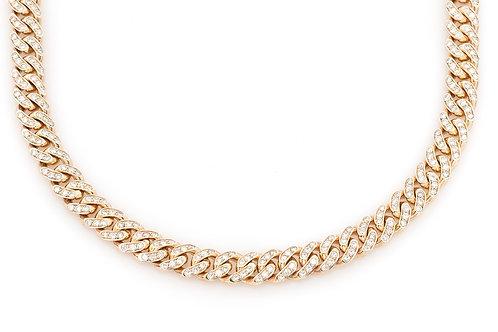 "10 KT YELLOW GOLD 14.42CTW DIAMONDS MIAMI CUBAN CHAIN,(30"")"