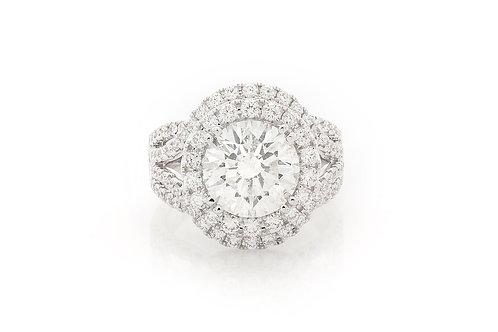 18 KT WHITE GOLD 5.48 CTW ROUND BRILLIANTCUT DIAMOND DOUBLE HALO ENGAGEMENT RING