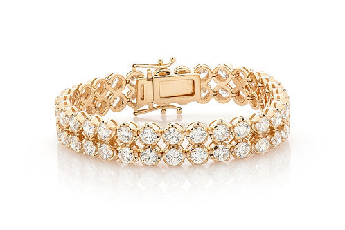 18 KT YELLOW GOLD 21.75 CTW TWO ROW  SOLITAIRE DIAMOND BRACELET