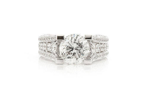 18 KT WHITE GOLD 4.86 CTW ROUND BRILLIANT-CUT DIAMOND ENGAGEMENT RING