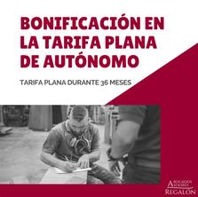 BONIFICACIÓN EN LA TARIFA PLANA DE AUTÓNOMOS