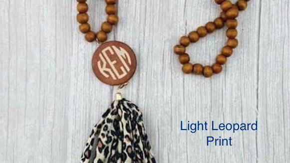 Wooden Tassel Necklaces with monogram