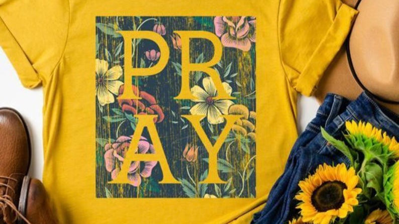 Pray Floral Graphic