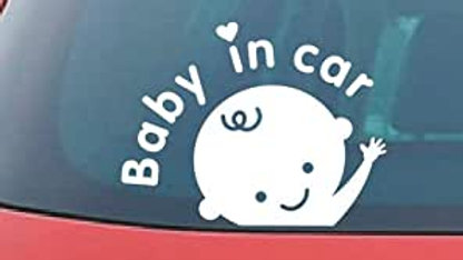 Baby In Car Decal- Die Cut Adhesive Decal