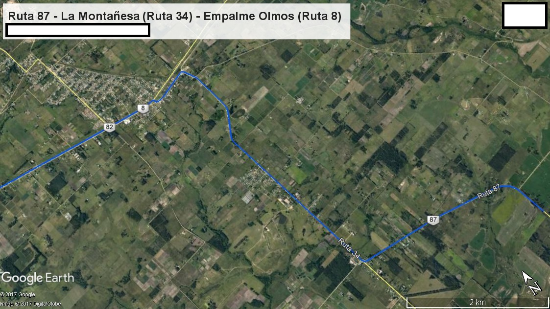 Z1 - Recorrido Parte 6 (Ingreso a Pando desde el Este por Ruta 87 - La Montañesa (Ruta 34) - Empalme