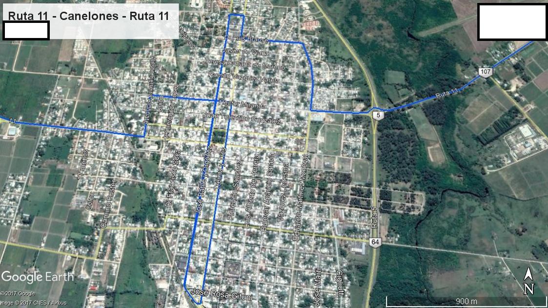 Z2 - Recorrido Parte 9 (Ruta 11 - Canelones - Ruta 11)