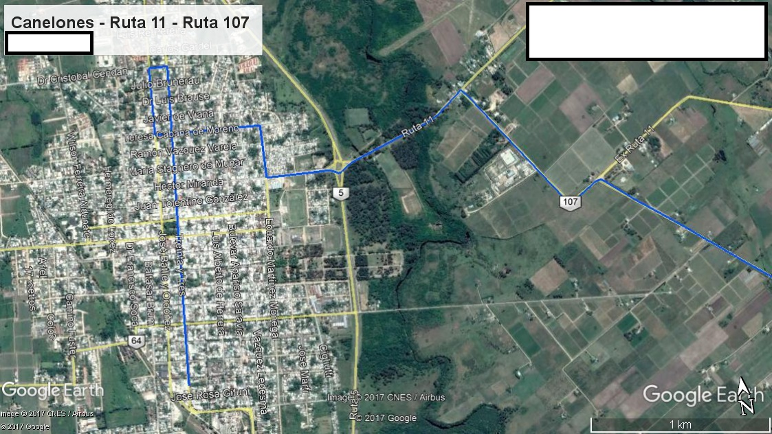 Z5 - Recorrido Parte 1 (Canelones - Ruta 11 - Ruta 107)