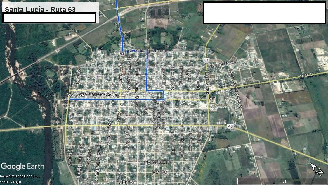 Z1 - Recorrido Canelones por Paso Pache - Parte 1 (Santa Lucía - Ruta 63)