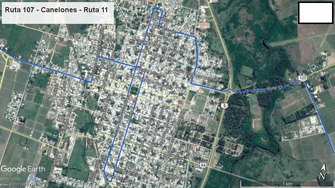 Z1 - Recorrido Parte 12 (Ruta 107 - Ruta 11 - Canelones - Ruta 11)