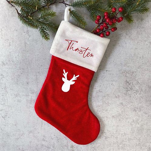 Weihnachtsstrumpf Weiß/Rot Personalisiert