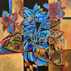 Blue Flowers - 36x36