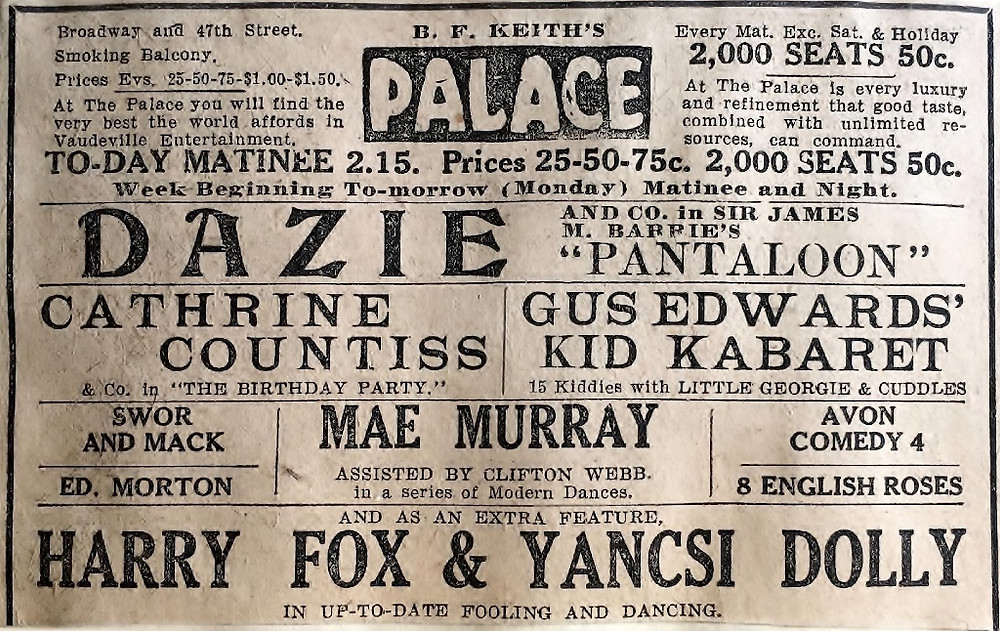 Palace Ad Featuring Cathrine Countiss, Mar 1914