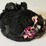 French Black Hat with Violet Pansies