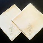 Pair of Embroidered Medallion Cotton Tea Napkins