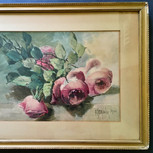 Framed B. S. Brower Watercolor of Roses
