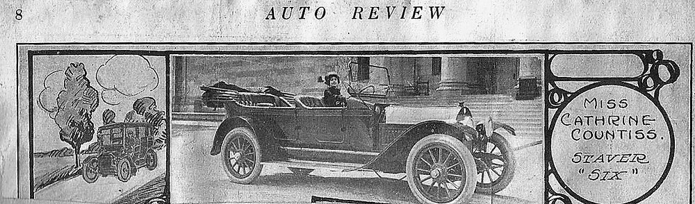 Cathrine in a Staver Six, 1913