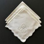 Eight Embroidered Dogwood Blossom Cotton Tea Napkins