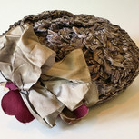 Silver Braided Straw Hat with Velveteen Rose