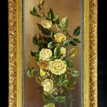 Framed Oil Painting on Canvas of Yellow Roses