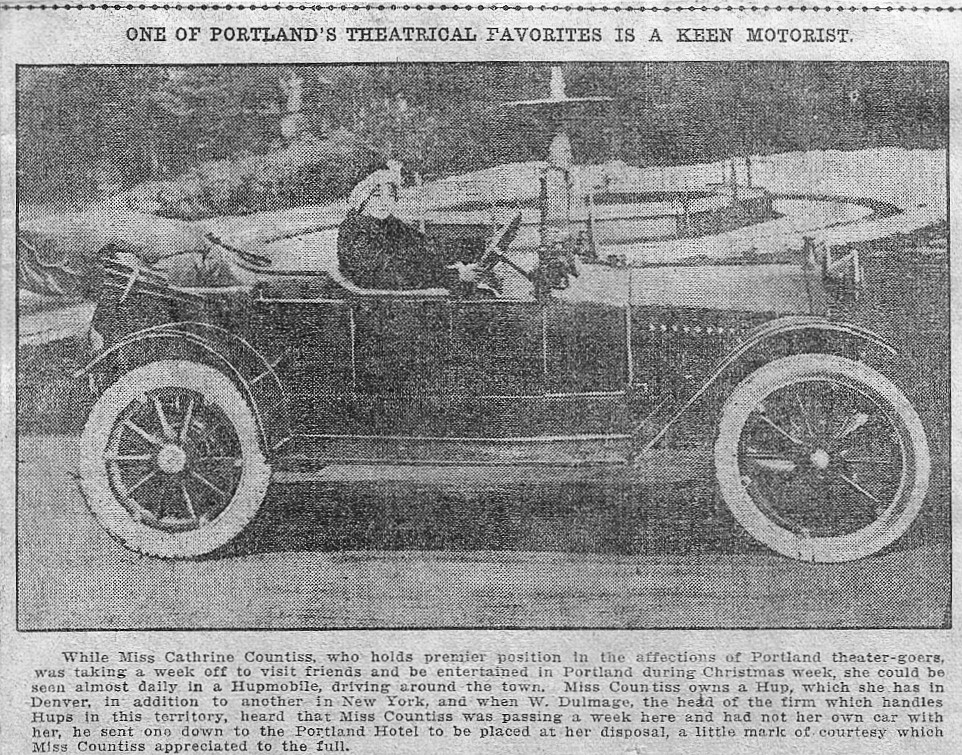 Cathrine Driving the Hupmobile in Portland, 1913
